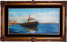 Embellished Oil canvas by Violet Parkhurst Ocean Liner from 1970