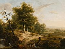 CLEVES SCHOOL - 2nd Half of 19th Century  Vast Tree-covered Landscape with Figures by the Water.