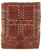 Yomut-Engsi.  Mid 19th Century. 145 x 119 cm. Condition D. (Damaged and repaired, top a