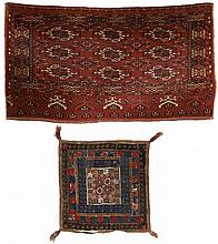 Group.  a) Ersari-Chuval. Late 19th Century. 81 x 148 cm. Condition C/D. (Partly worn).