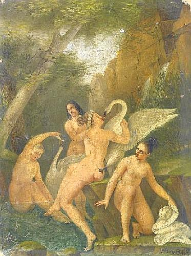 Bree, Philippe Jaques van 1786 Antwerpen - 1871 St.-Joost-ten-Node  Swimmers with swans in the forest.