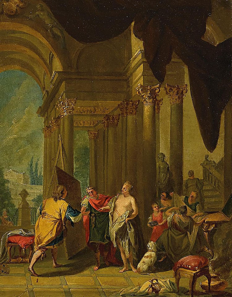 Schönfeld, Johann Heinrich 1609 Biberach - 1684 Augsburg - copy after  Apelles paints Campaspe in the presence of Alexander the Great.