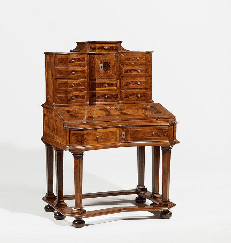 Baroque Secretaire. Germany. 18th C. Walnut, plum