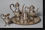 Service à café et à thé quadripode de style Louis