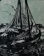 Reinier Snapper (1907-1988), colour woodcut,