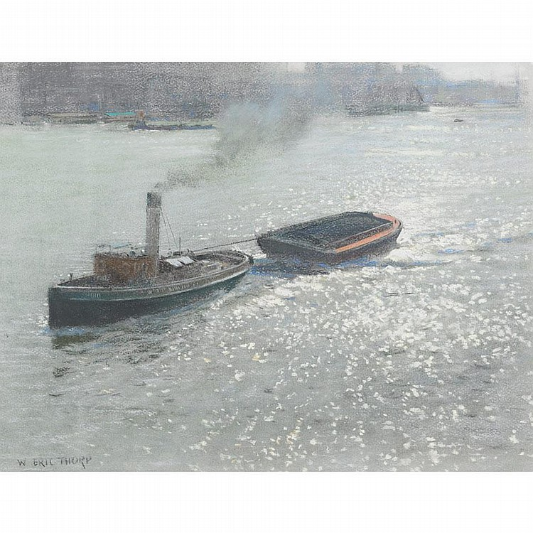William Eric Thorp (1901-1993), THAMES BARGES, Colour pastel; signed lower left, 12