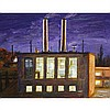 BRIAN KIPPING, CHOCOLATE FACTORY, oil on wood, 9.5 ins x 12 ins; 24.1 cms x 30.5 cms