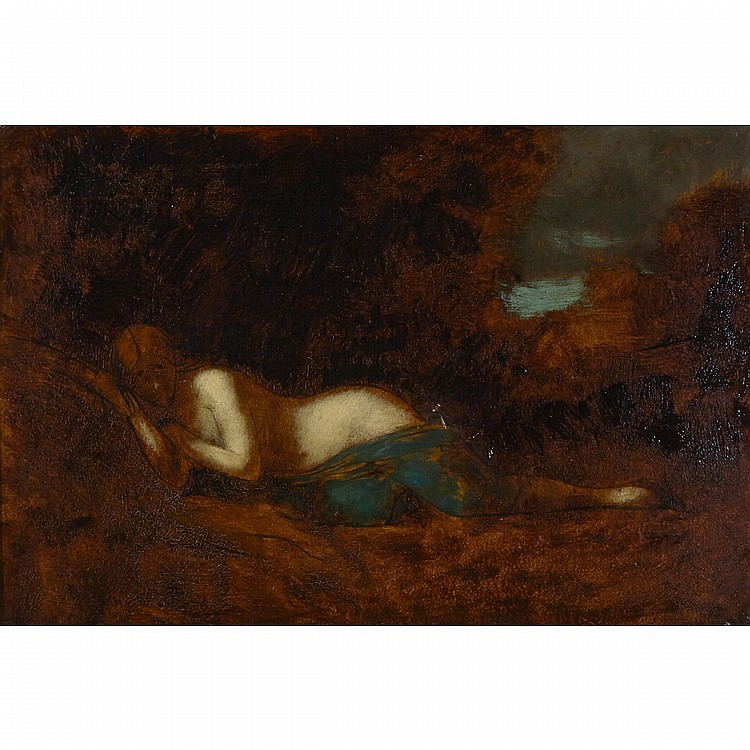 Jean-Jacques Henner (1829-1905), DRAPED NUDE SLEEPING IN THE FOREST, Oil on board; signed lower left, 9