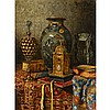 Max Schodl (1834-1921), STILL LIFE WITH CLOISONNE VASE, CLOCK AND POKAL; STILL LIFE WITH SATSUMA AND CLOISONNE VASES, Two oils on board; each signed and dated, the former, signed and dated 1899 upper right, the latter, signed and dated 1913 upper