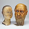 Two Wax Model Heads, late 19th/early 20th century, height 12.5
