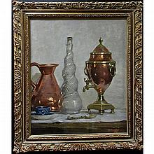 RICHARD JACK (CANADIAN, 1866-1959), STILL LIFE (WITH COPPER SAMOVAR), OIL ON BOARD; SIGNED LOWER RIGHT, 24