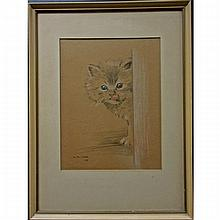 H. ROSS WIGGS (CANADIAN, 20TH CENTURY), KITTEN STUDIES, FOUR COLOUR CHALK DRAWINGS; EACH SIGNED AND DATED /49 - Each sight (13.5