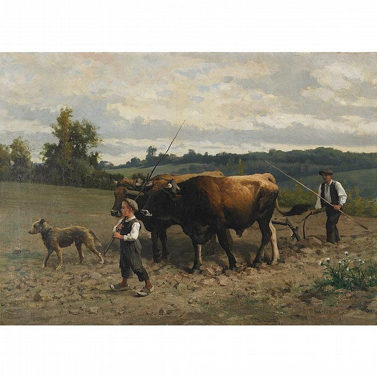 Edouard Bernard Debat-Ponsan (1847-1913), PLOUGHING, Oil on canvas; signed lower right, 29.25