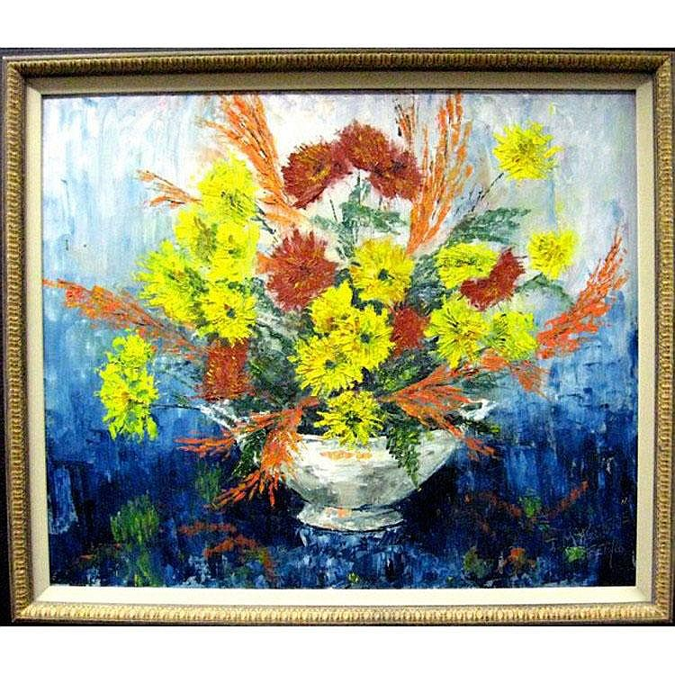 JOY McAUGHTRIE (CANADIAN, 1932-2011) FLORAL STUDY;