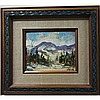 WALTER PRANKE (CANADIAN, 1925-), SNOW COVERED MOUNTAINS; DECEMBER DAY IN NORTHERN ONTARIO, TWO OILS ON CANVAS BOARD; EACH SIGNED LOWER RIGHT; TITLED TO LABELS VERSO (8