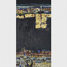 Vinita Karim (1962- ), BLACK, Acrylic, oil and gold leaf on canvas; signed and dated 2012 lower right, signed, titled and dated 2012 verso, 62