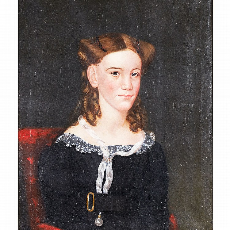 Circle of Ammi Phillips (1787-1865), American PORTRAIT OF A YOUNG GIRL SEATED IN A RED CHAIR, MARY ASH...?; Oil on canvas; signed with indecipherable adjoined script initials and dated 1828 verso, remains of a 20th Century inscribed label: