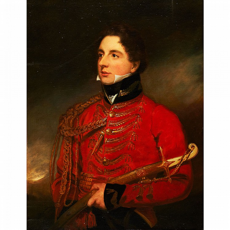 Circle of Thomas Lawrence (1769-1830),British COLONEL ROBERT SMITH WEBB (1794 WITLEY, SURREY-1862 HAMBLEDON, SURREY) DEPICTED HOLDING A MARMALUKE HILTED OFFICER'S SWORD; Oil on canvas; titled on an old paper label affixed to the verso36