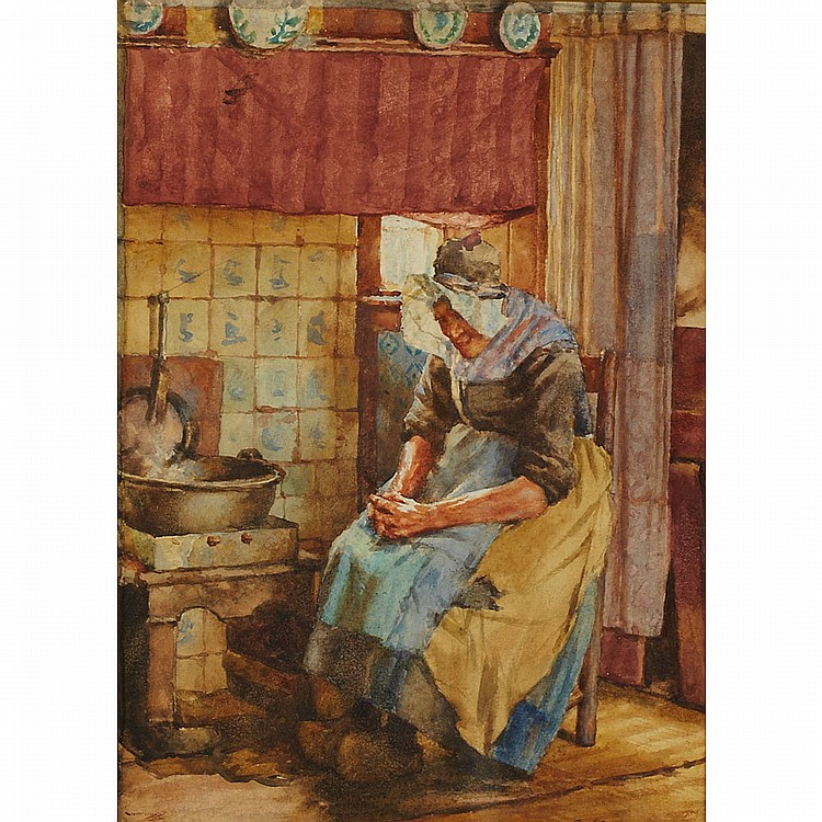 Walter Langley (1852-1922), British OLD WOMAN BY THE HEARTH; Watercolour; signed lower rightSight 9.75