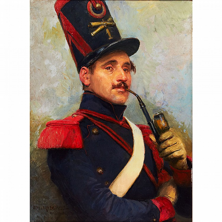Edouard Jean Baptiste Detaille (1848-1912), French OFFICER OF THE FRENCH HORSE ARTILLERY SMOKING A PIPE; Oil on board; signed and dated Avril 1910 lower left28.75