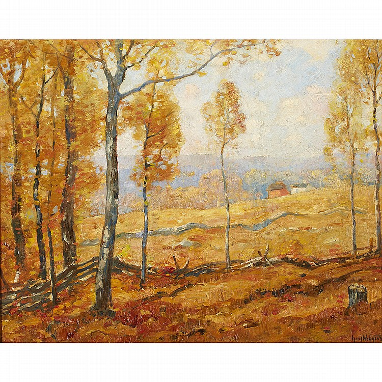 Guy Carleton Wiggins (1883-1962), American GOLDEN AUTUMN, LYME, CONN., 1938; Oil on canvas; signed lower right, titled and dated 1938 verso24