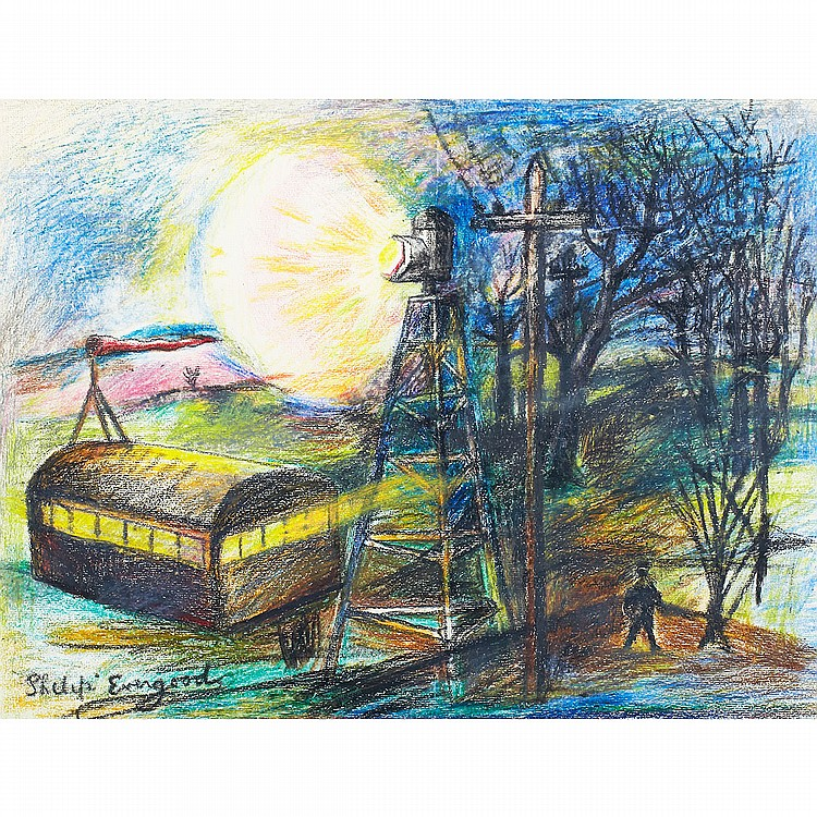Philip Evergood (1901-1973), American PRISON CAMP; Colour crayon drawing on Ingres USA watermarked paper; signed lower leftImage 16.25
