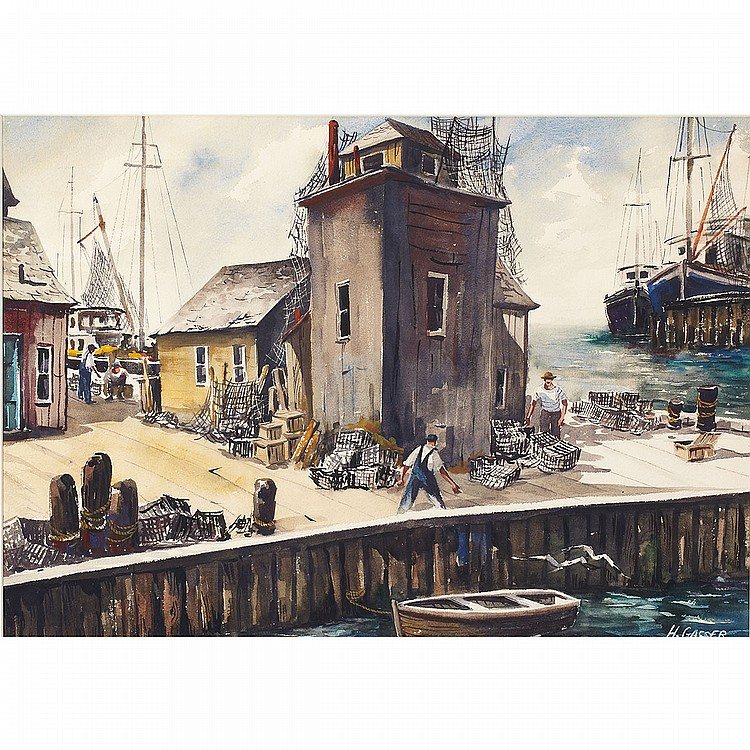Henry Martin Gasser (1909-1981), American LOBSTER FISHERMAN; Watercolour; signed lower rightSheet 18.5