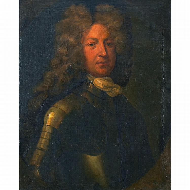 Circle of Sir Godfrey Kneller (1646-1723), British PORTRAIT OF A MAN IN ARMOUR; Oil on canvas, feigned oval cartouche29.75