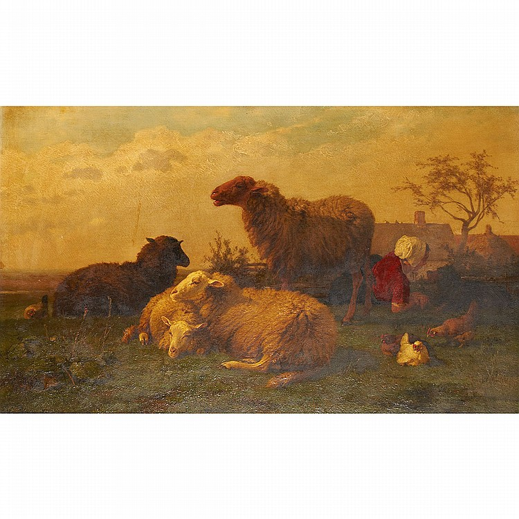 Cornelis van Leemputten (1841-1902), Belgian A MAIDEN RESTING WITH HER DOG, SHEEP AND CHICKENS; Oil on panel; signed and dated 1874 lower left15.75