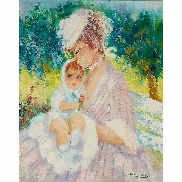 Marguerite Aers (1918-1995), Belgian MOTHER AND CHILD IN A SPRING GARDEN; Oil on canvas; signed lower right31.5