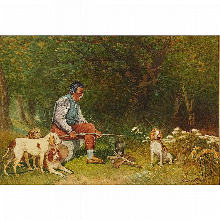 Charles Caleb Ward (1831-1896), American/Canadian INDIAN COOKING FOOD FOR DOGS OVER A CAMPFIRE; Watercolour; signed and dated 1889 lower right.10