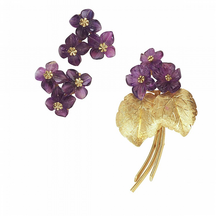 Knoll & Pregizer West German 18k Yellow Gold Brooch And Earrings formed in a floral motif and set with carved amethyst flowers, 15.4 grams, circa 1960's