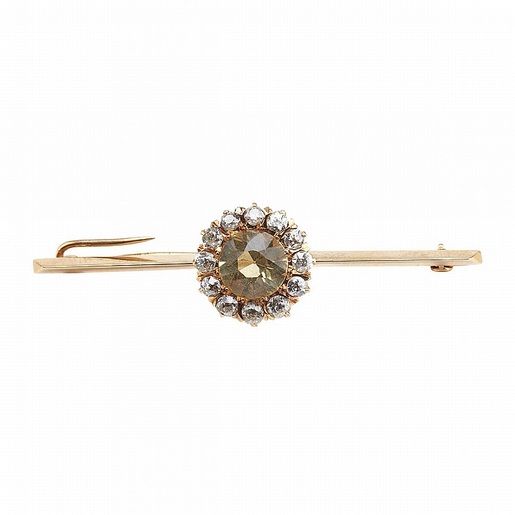 14k Yellow Gold Bar Pin set with a fancy full cut citrine encircled by 12 old cut diamonds (approx. 1.10ct.t.w.), 7.6 grams