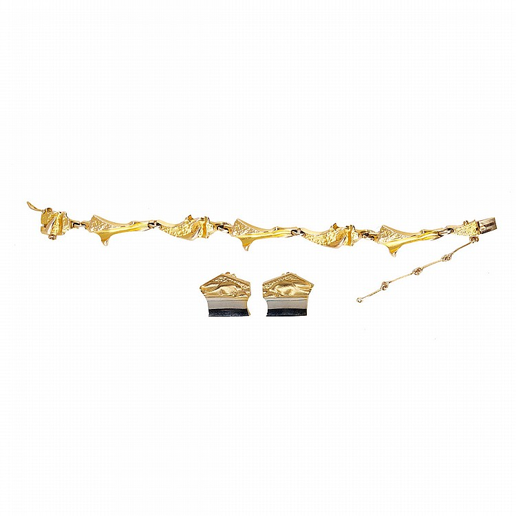Lapponia Finnish 14k Yellow Gold Bracelet And Clip-Back Earrings length 7.25