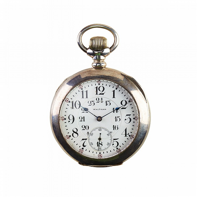 Waltham Railroad Grade Pocket Watch circa 1908; serial #16126114; 18 size; 23 jewel Vanguard movement adjusted to 5 positions; in a heavy sterling silver case