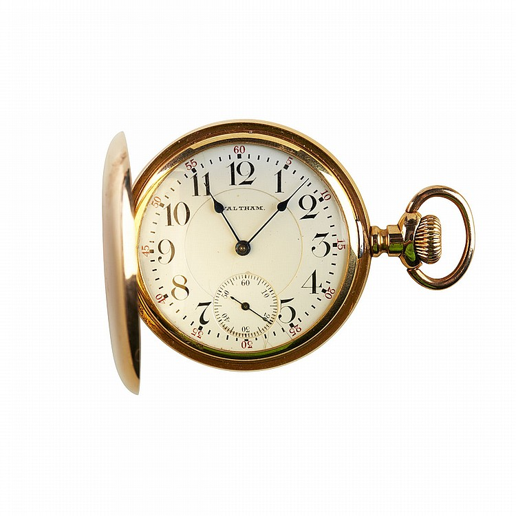 Waltham Pocket Watch circa 1908; serial #16092066; 16 size; 19 jewel Vanguard movement adjusted to 5 positions; in an 18k yellow gold hunter case, 117.9 grams