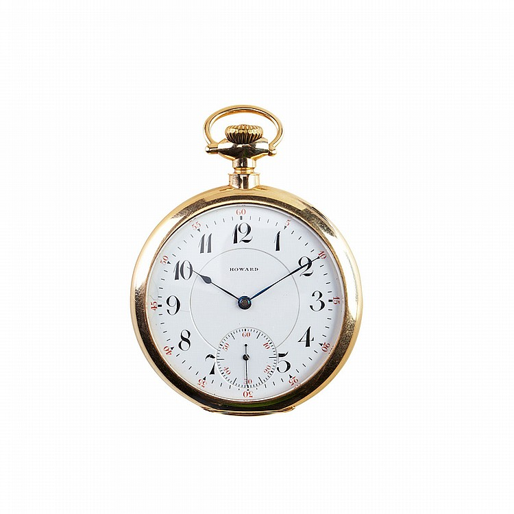 E.Howard Watch Co. (Keystone) Pocket Watch circa 1912; serial #3332304; 16 size; 23 jewel movement adjusted to temperature and 5 positions, with jeweled barrel; in a 14k yellow gold case, 87.6 grams