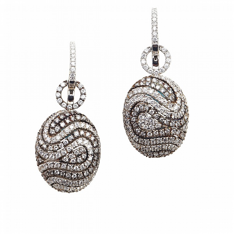 Pair Of Mindham 18k White Gold Drop Earrings each set with 137 small brilliant cut diamonds on a blackened field, 14.1 grams, in the original box