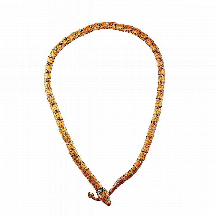 Margot Van Voorhies Carr Mexican Sterling Silver Articulated Snake Belt decorated with orange enamel; with two removable segments to adjust length, length 31