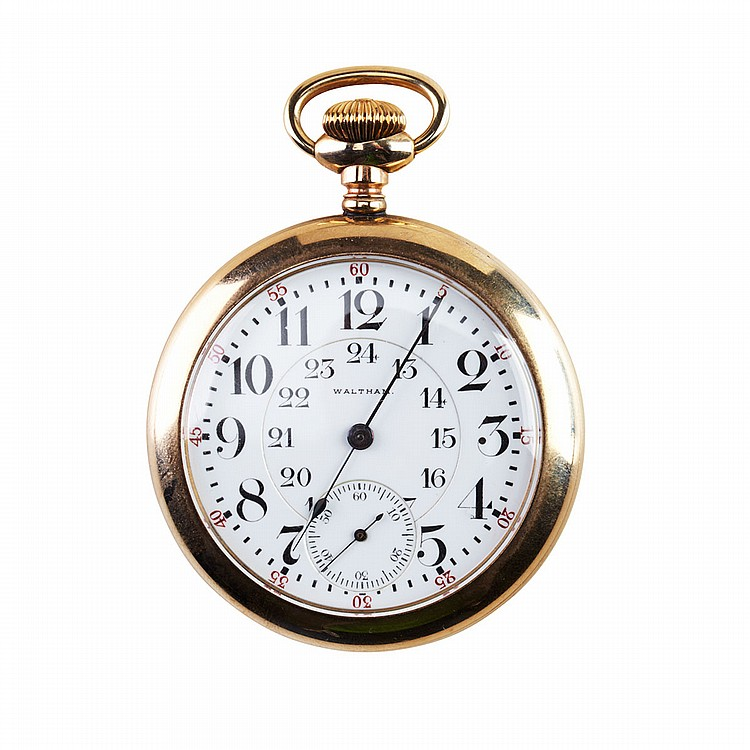 Waltham Railroad Grade Pocket Watch - Canadian Pacific Railway Modelcirca 1913; serial #19002250; 16 size; 17 jewel CPR movement adjusted to 5 positions; in a gold-filled case, case monogrammed