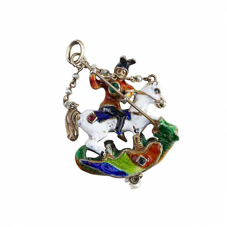 19th Century Silver Pendant formed in a Renaissance style as St. George And The Dragon, decorated with enamel and set with a small emerald, ruby, sapphire and a pearl