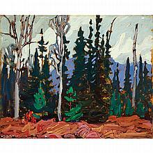 LAWREN STEWART HARRIS, LAKE SUPERIOR, oil on panel, 10.5 ins x 13 ins; 26.7 cms x 33 cms