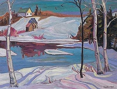 RALPH WALLACE BURTON  SPRING, SIMON RIVER, LAURENTIANS, QUE., oil on canvas, signed 20 ins x 26 ins; 50 cms x 65 cms E3000-5000  Painted in 1957.