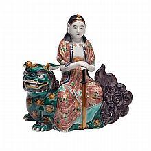 Ko-Kutani Figure of Monju Bosatsu, Edo Period, 18th/19th Century