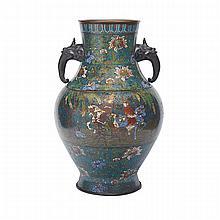 Large Champlevé Enamel Vase, Early 20th Century