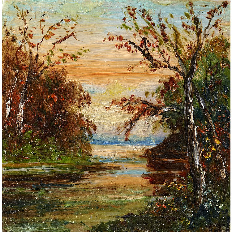 TOM THOMSONRIVER SCENE, oil on glass; signed with initials 3 ins x 3 ins; 7.5 cms x 7.5 cms Provenance: Amy Barnard (née Turbayne), Toronto.Judi Barnard Koysam, Toronto.Private Collection, Ontario.Note:
