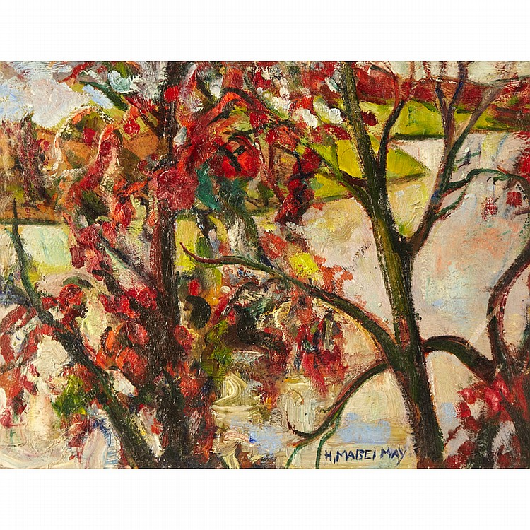 HENRIETTA MABEL MAY, A.R.C.A.LANDSCAPE WITH MAPLE TREES, oil on board; signed 12 ins x 15.75 ins; 30 cms x 39.4 cms