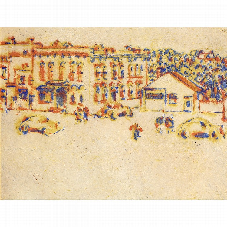 DAVID BROWN MILNEMAIN STREET, 1942, colour drypoint; signed and numbered 38/40 in the margin 7 ins x 9 ins; 17.5 cms x 22.5 cms Literature: David Silcox,