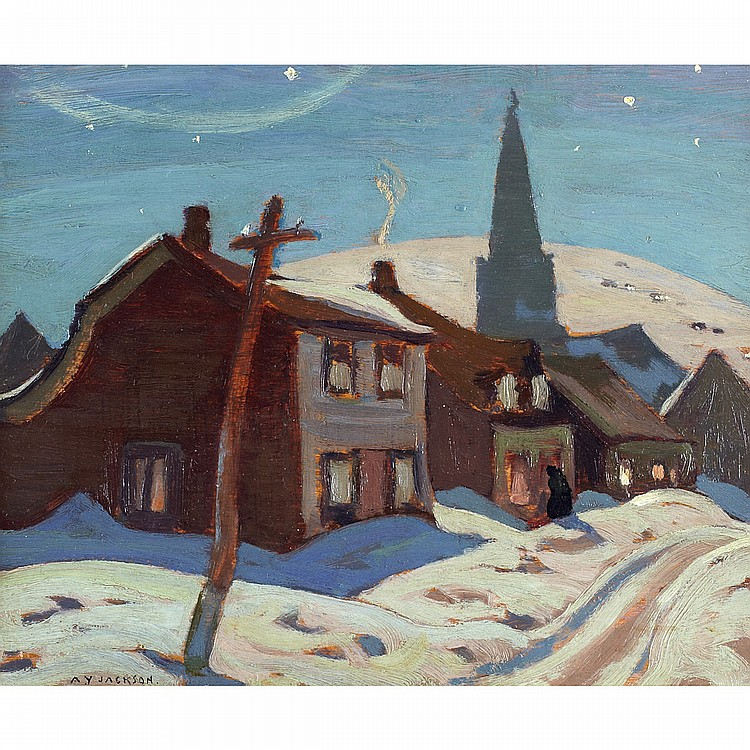 ALEXANDER YOUNG JACKSON, O.S.A., R.C.A.MOONLIGHT, BAIE ST. PAUL, 1924, oil on panel; signed 8.5 ins x 10.5 ins; 21.3 cms x 26.3 cms  Provenance: Lawren Harris (gift from the artist).G. Blair Laing Limited, Toronto.Private Collection, Ontario.