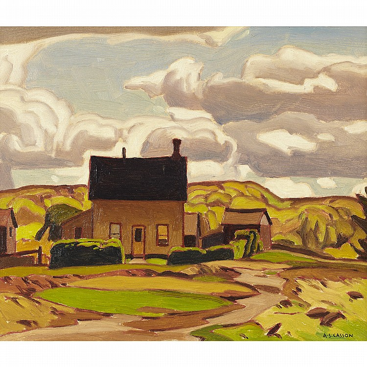 ALFRED JOSEPH CASSON, O.S.A., P.R.C.A.FARMHOUSE NEAR TERRA COTTA, oil on canvas board; signed 9.5 ins x 11.25 ins; 23.8 cms x 28.1 cms  Provenance: Roberts Gallery, Toronto.Private Collection, Ontario.Note: Painted circa 1934.